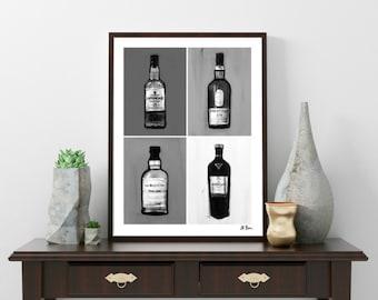 Whisky Pop Art noir blanc Lagavulin MacAllan Balvenie Laphroaig décor Shabby Vintage Single Malt Scotch signé Art moderne for sale  Delivered anywhere in Canada