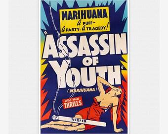 Assassin Of Youth Marijuana Reefer 12X16 Inch Framed Art Print