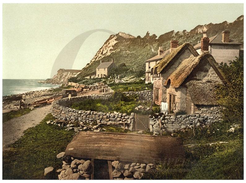 Seashore at Shanklin Village on the Isle of Wight England Vintage Photochrom Landscape Fine Art Print
