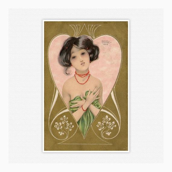 Fine Art Illustration by Raphael Kirchner circa 1910 | Etsy