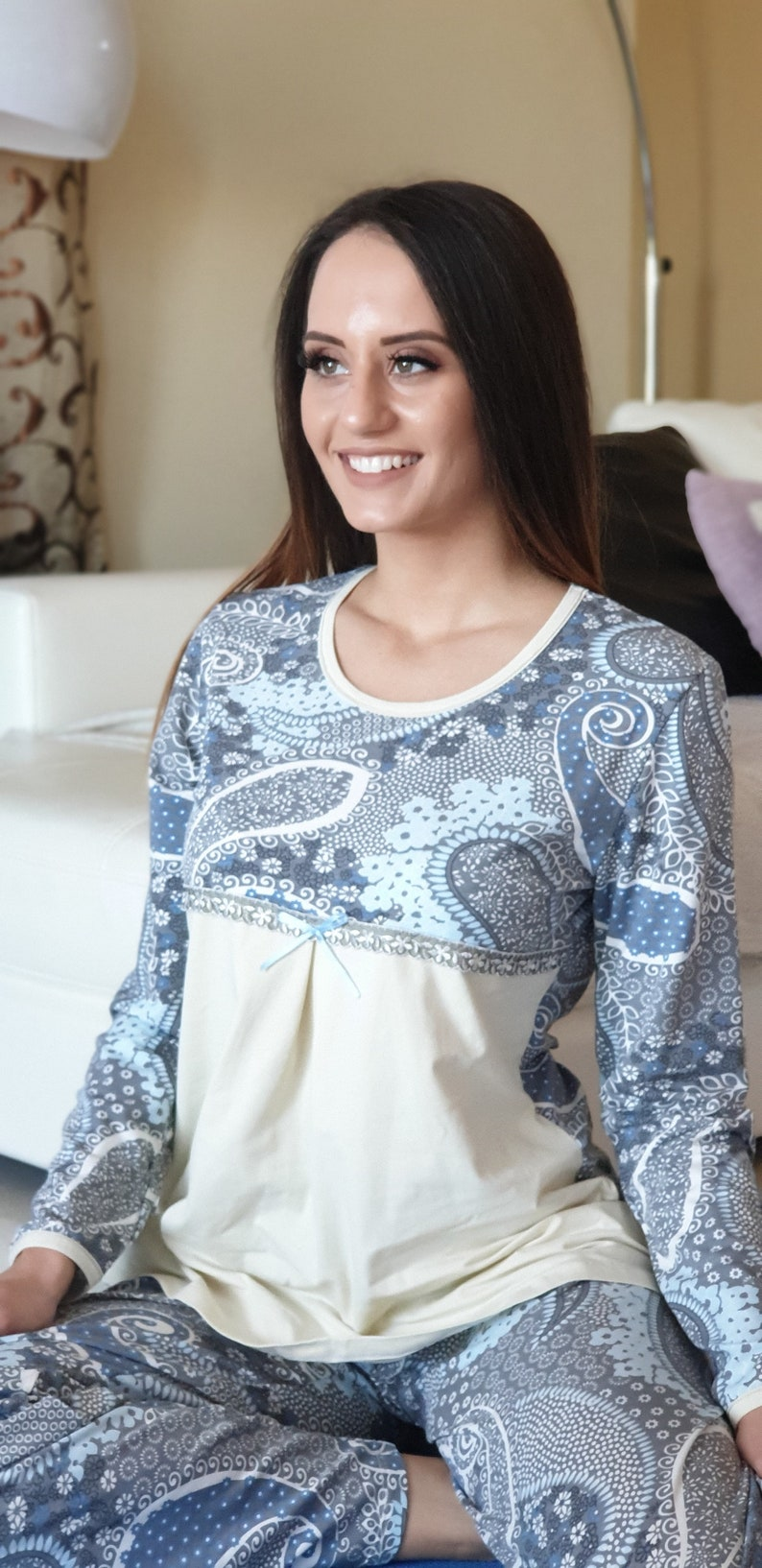 Pajama Party Set Pyjama Set for Classy Look Comfort Sleeping in Romantic Look Beautiful Soft Cotton Pajama