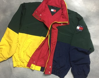 a97cbcc85d8 90s Tommy Hilfiger Multicolor Jacket 90s Tommy Hilfiger Jacket Multicolor  Sailing Gear Throwback Fashion Large Hiphop Clothing
