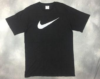 71341e3d 90s Nike Swoosh T Shirt/90s Nike Air USA Large Black Nike T Shirt /90s Nike  Clothing/90s T Shirt/Vintage Nike Made in USA T Shirt