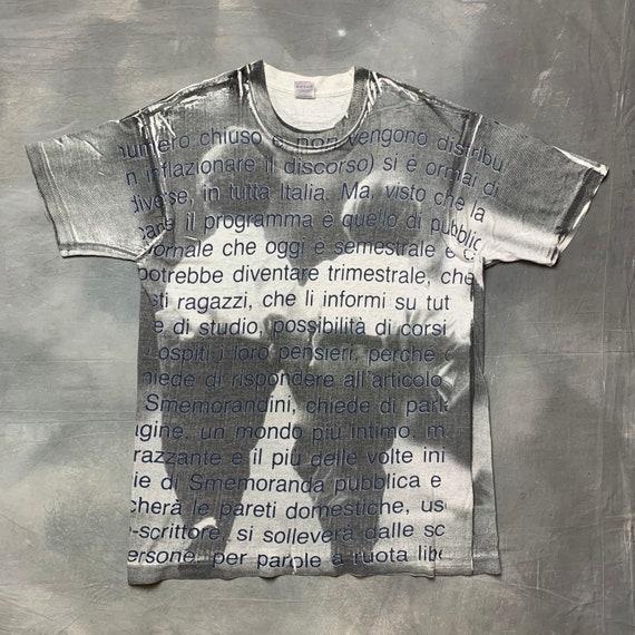 90s Full Print Fashion Quote Hand Print T Shirt/90