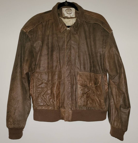 Mens Vintage Brown Leather Bomber Flight Jacket Si
