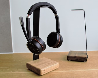 Headphone Holder - Mic, Headphone Headphone Stand Wood and Aluminum Black White
