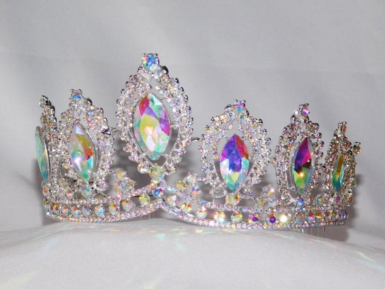 AB Iridescent Crystal Tiara Silver Rhinestone Crown Modern Headpiece Queen Crown 1212 Bridal Pageant Wedding Crown