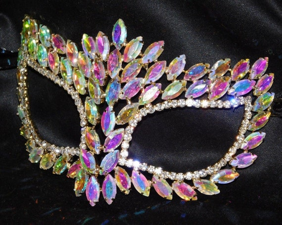Gold Iridescent Rhinestone Masquerade Butterfly Mask Mardi Gras Party AB W