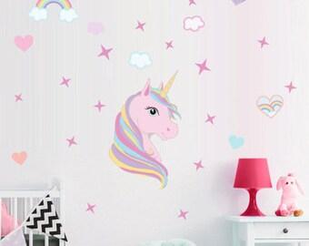 Unicorn Wall Decal  Unicorn Home Decor   Unicorn Wall Stickers   Unicorn  Kids   Kids Room Wall Decal   Childrenu0027s Room   Nursery Decor