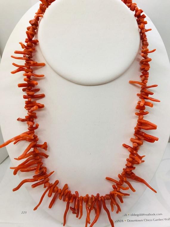 Coral necklace orange red necklace big bold chunky necklace natural bamboo coral necklace red gold gemstone statement necklace earring set