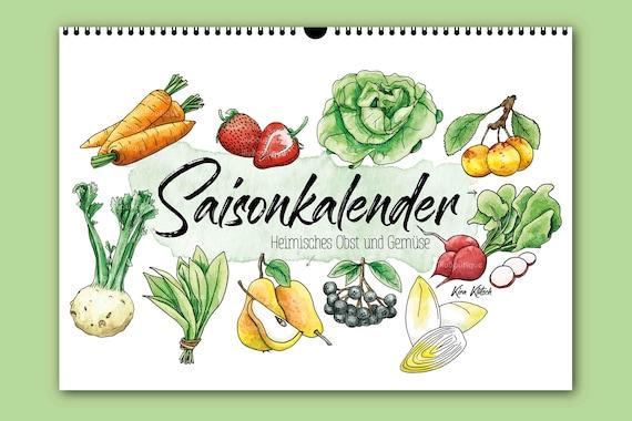 Saisonkalender A2 Obst Und Gemüse Dekoration Art Print Illustration Küche Geschenk Wall Art Aquarell Vegan Zeichnung Geburtstag