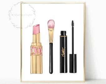 Beauty Wall Art Makeup Brushes Print Glam Room Print Salon Print