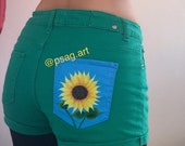 Hand painted denim original unique sunflower on green jeans denim shorts in yellow and blue on pocket