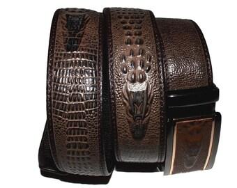 Crocodile Crocodile robe ceinture à cliquet avec relief haut Grain cuir -  brun-BP006CROC cb33c5abc97