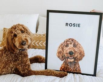 Custom Pet Portrait CANADA | Framed Dog Portrait | Digital Dog Art Pet Commission | Custom Dog Picture | Custom Wall Art Personalized Decor