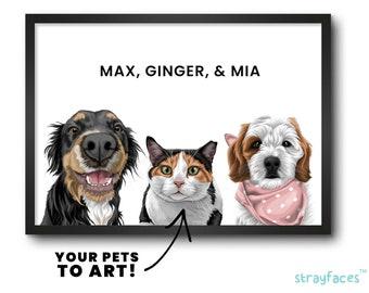 THREE PET PORTRAIT | Multiple Pet Portrait | Pet Family Portrait | Pet Portrait from Photo | Custom Dog Art | Custom Pet Illustration