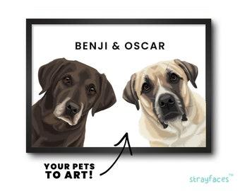 TWO PET PEEKABOO Portrait | Funny Family Pet Portrait from Photo | Multiple Pet Portrait | Personalized Dog Wall Art | Cartoon Pet Portrait