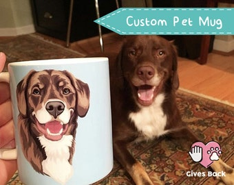 55fb25c6f17d Custom Pet Portrait Mug • Dog Coffee Mug • Pet Coffee Cup • Mother Gift  Idea • Custom Dog Coffee Mug • Personalized Mug • Gift for Dog Lover