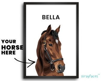 HORSE PORTRAIT CUSTOM | New Horse Gift | Gift for Equestrian | Gift for Horse Lover | Personalized Horse Wall Decor | Horse Memorial Gift