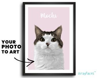 CAT PORTRAIT from PHOTO | Custom Pet Art | Unique Wall Art | Modern Pet Portrait | Custom Wall Decor | Personalized Home Decor