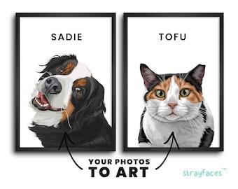 PET PORTRAIT from PHOTO | Custom Pet Art | Unique Wall Art | Cartoon Pet Portrait | Custom Wall Decor | Personalized Home Decor