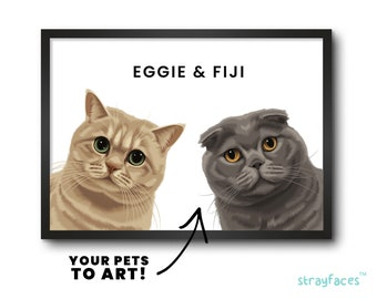 TWO CAT PEEKABOO Portrait | Funny Family Pet Portrait from Photo | Multiple Pet Portrait | Personalized Cat Wall Art | Cartoon Pet Portrait