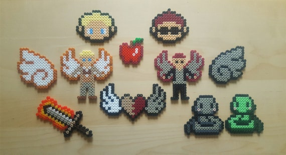 Good Omens Pixel Art Aziraphale Crowley Angel Demon Neil Gaiman Terry Pratchett Magnet Keychain Badge And More