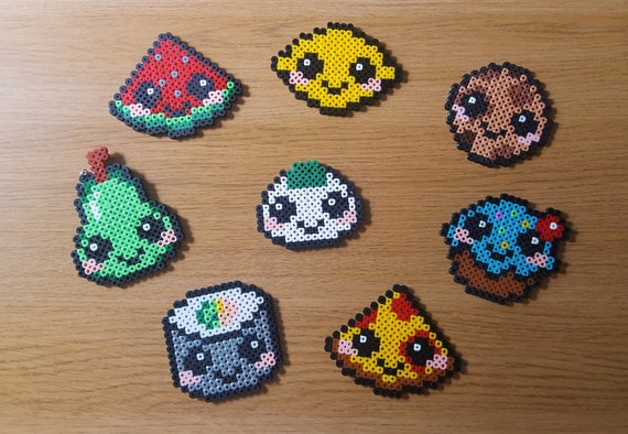 Cute Kawaii Food Pixel Art Keychain Magnet Badge Pin Onigiri Sushi Cookie Pizza