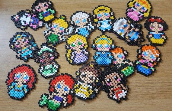 Disney Princess Pixel Art Sprites Keychain Magnet Badge Pin Phone Charm Cinderella Ariel Beuty Mulan More