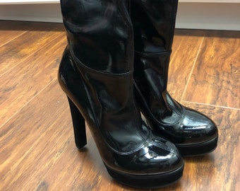 04f5d796120 Vintage Black Patent Leather Platform Gucci Boots