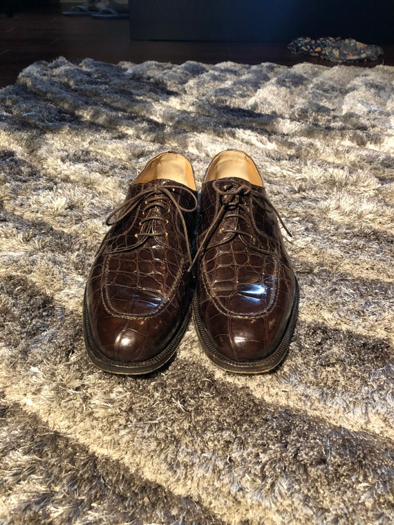Men's Brown Crocodile Shoes size 8