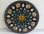 Rare Black Marble Dining Coffee Table Top Handmade Marquetry Inlaid Decor size 24 inch diameter
