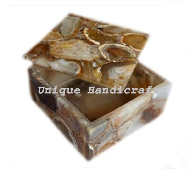Handmade Home Decor Gifts Multi Purpose Box Luxury Gift Box Natural Agate  Stone Box Gem Stone Box