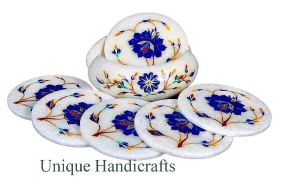 Marble coasters Set Semi precious stones Lapis Lazuli Handmade Inlay Decor