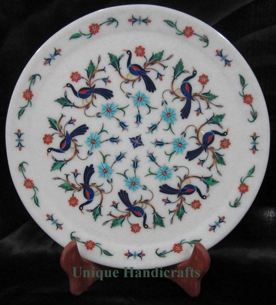 Marble inlay plates  pietra dura wall plaques  stone inlaid collectible antique plate