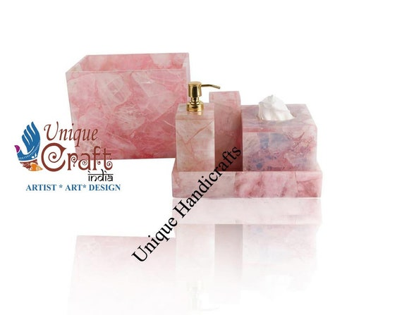Rose Quartz Agate Stone Bathroom Set Of 5 Luxury Bathroom Etsy