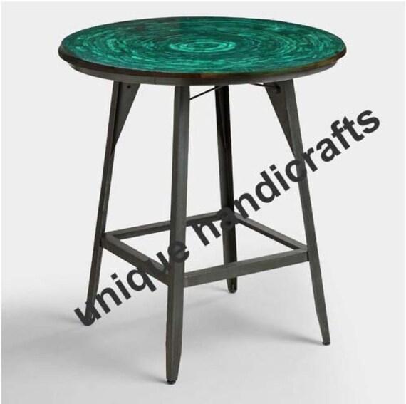Marble Table Top Malachite Gems Random, 24 Inch Round Table