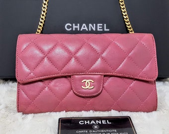 bc1c137651 Auth CHANEL Matelasse Gold CC Pink Lambskin Long Large Clutch Wallet WOC  Crossbody Bag Gold Chain W 7