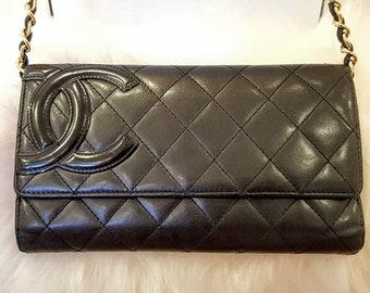 25b00dc50faa Auth CHANEL Cambon Line Matelasse Black/Black CC Interlock Logo Large Long  Clutch Crossbody Bag Wide 8