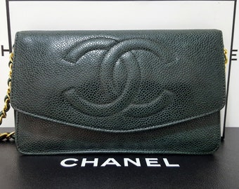 b578b4a23ab2 Auth CHANEL Quilted CC Timeless Green Gold Flap Caviar Leather Clutch  Wallet WOC Crossbody Shoulder Bag W 7.5