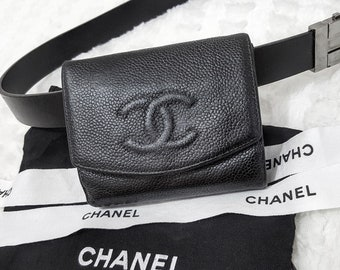 16ee4143db18 Auth CHANEL Quilted Timeless CC Logo Flap Caviar Skin Leather 2 in 1 Wallet  Coin Purse Fanny Waist Bag W 4.5