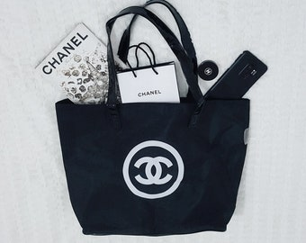 4d5def5d5d4 Black Nylon White CC Logo Shoulder Shopping Bag Large W 15