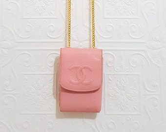 e98b3e082736 Auth CHANEL Quilted CC Timeless Flap Caviar Leather Pink Pouch Case Wallet  Mini WOC Crossbody Bag Gold Chain H 4.5