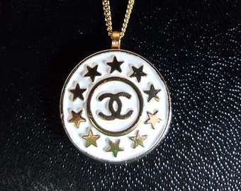 cfe258d0f Auth CHANEL Gold CC Interlock Logo w 10 Stars 18mm Button Hypoallergenic  Gold over 925 Sterling Silver Necklace Chain