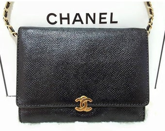 0844f6265c9 Auth CHANEL Gold CC Timeless Flap Caviar Leather Black Gold WOC Wallet On  Chain Crossbody Bag W 6.25