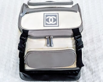 2381ebe1017a Auth CHANEL CC Sports Line Rucksack Nylon Lambskin Leather Large Backpack W  12.5