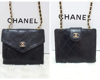f3c2fde1a8d3 Auth CHANEL Gold CC Logo Diamond Stitch 2 in 1 Lambskin Mini Micro Wallet  on chain Crossbody bag