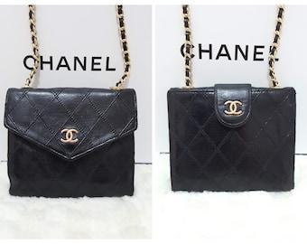 55cfe5d114a0 Auth CHANEL Gold CC Logo Diamond Stitch 2 in 1 Lambskin Mini Micro Wallet  on chain Crossbody bag