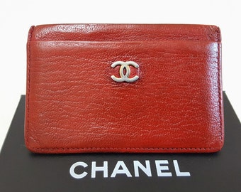 8ff7f1b62de1fd Auth CHANEL Red Caviar Leather Timeless CC Gold Logo Credit Card ID Holder  Case Business Card Wallet W 4.4