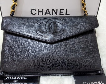 34632a6762 Auth CHANEL Timeless CC Quilted Envelope Crossbody Shoulder Bag Black  Caviar Leather Gold Chain Strap W 8